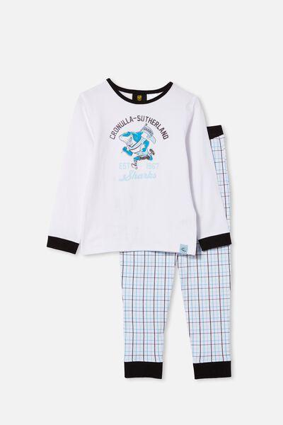 Nrl Kids Mascot Ls Pyjama Set, SHARKS