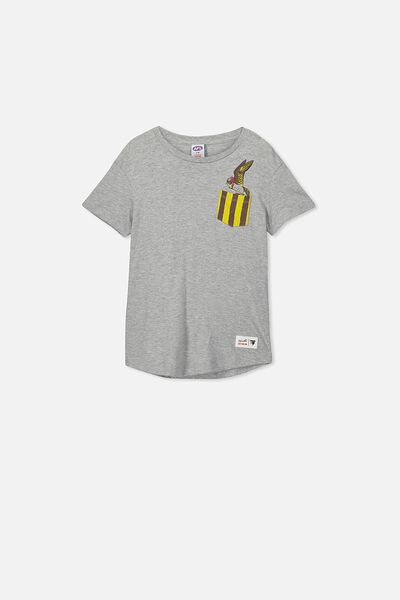 Afl Kids Pocket Print Tee, HAWTHORN