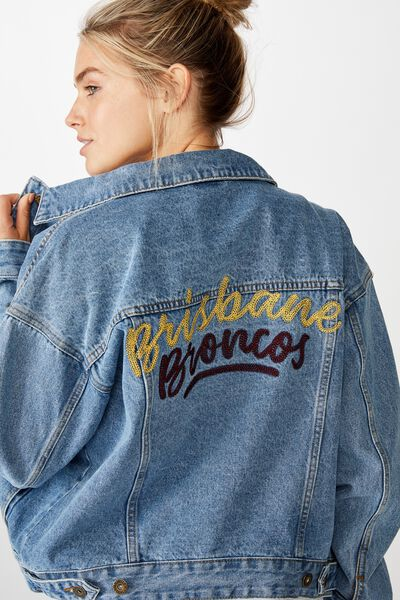 Nrl Womens Cropped Denim Jacket, BRONCOS
