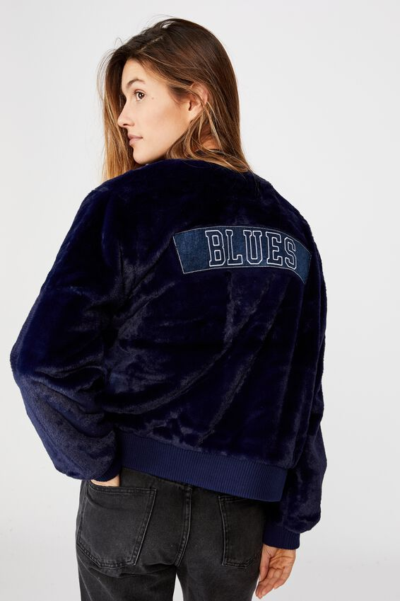 Afl Womens Fur Bomber Jacket, CARLTON