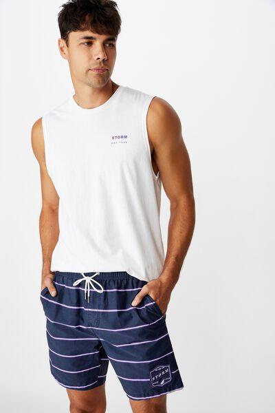 Nrl Mens Stripe Board Short, STORM
