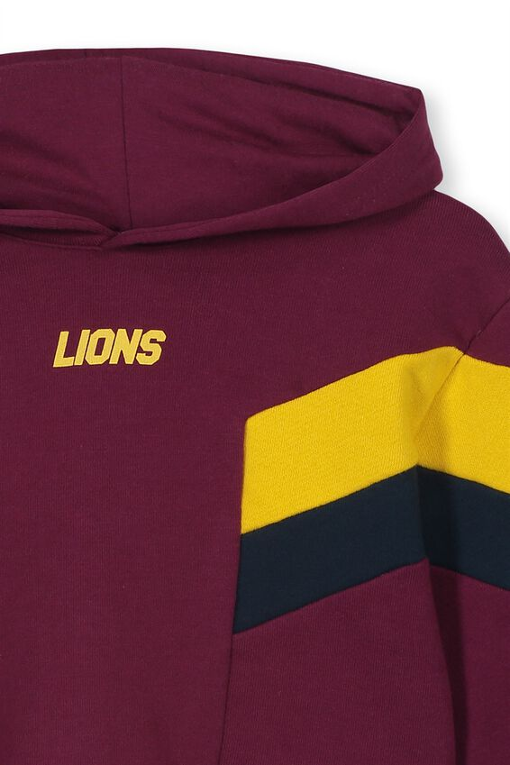 Afl Girls Retro Panel Chopped Hoody, BRISBANE LIONS