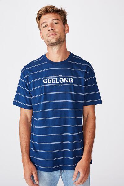 Afl Mens Stripe Logo T-Shirt, GEELONG