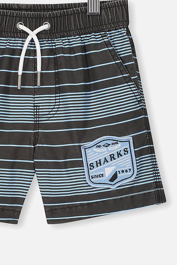 Nrl Boys Stripe Board Short, SHARKS