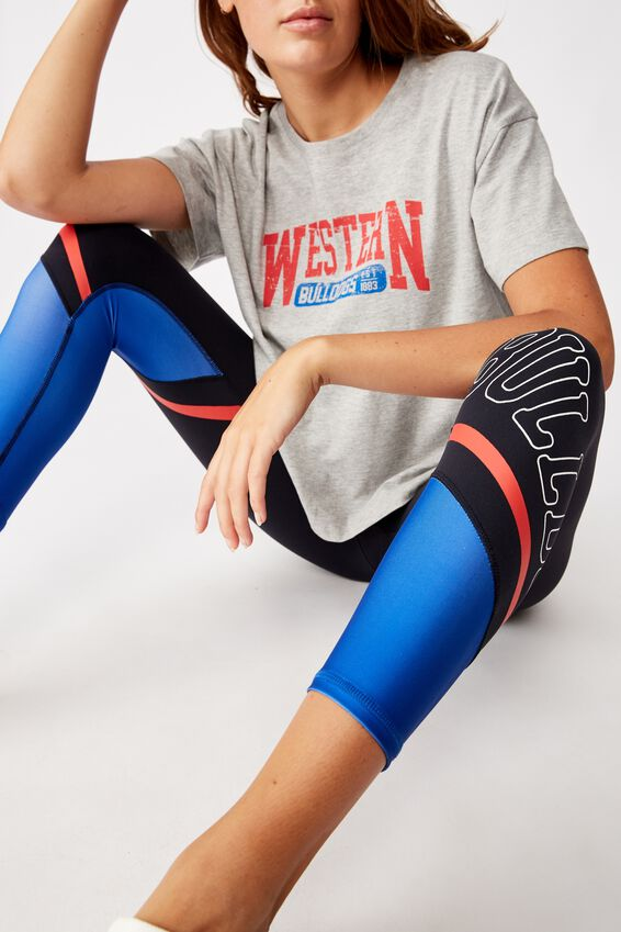Afl Womens Contrast Panel Leggings, WESTERN BULLDOGS