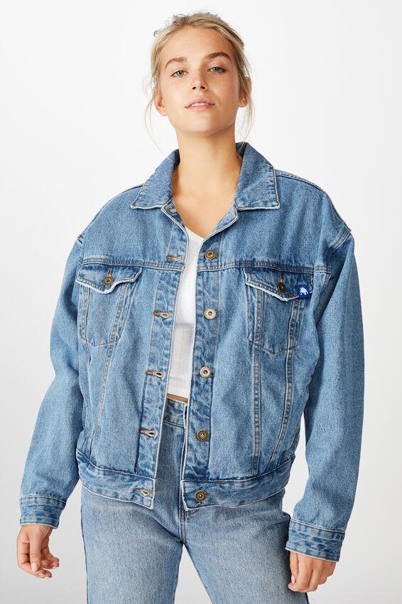 NRL Womens cropped denim jacket - BULLDOGS, BULLDOGS