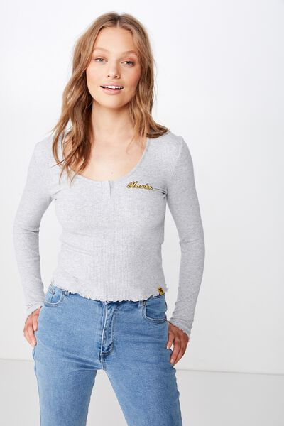 Afl Ribbed Knit Chopped Henley, HAWTHORN