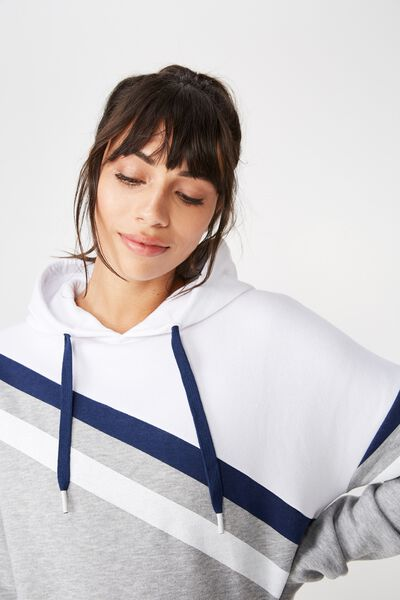 Afl Ladies Stripe Fleece Hoody, GEELONG