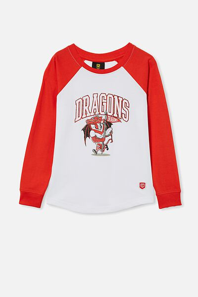 Nrl Kids Raglan Ls Top, DRAGONS