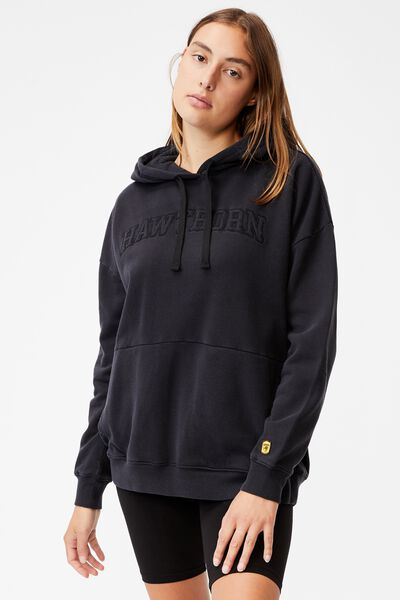 Afl Womens Embroidered Pocket Hoodie, HAWTHORN