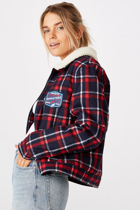 Nrl Womens Sherpa Jacket, ROOSTERS