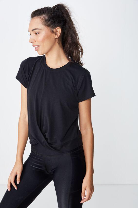 Twist Front Tshirt, BLACK