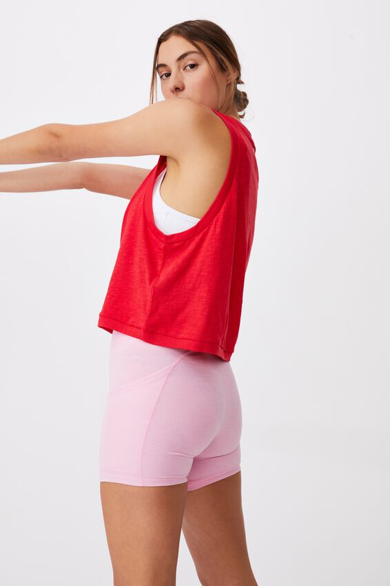 All Things Fabulous Cropped Muscle Tank, RED