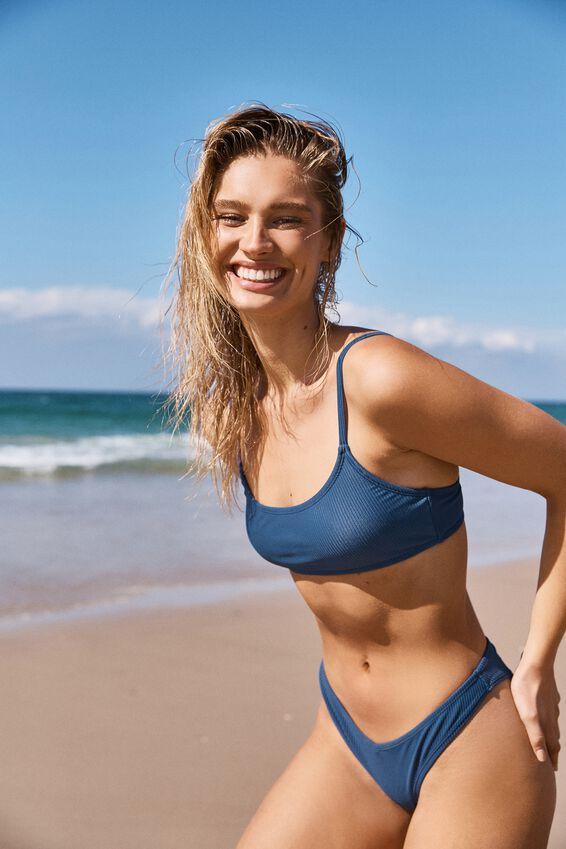 Scoop Crop Bralette Bikini Top, MARINA BLUE RIB