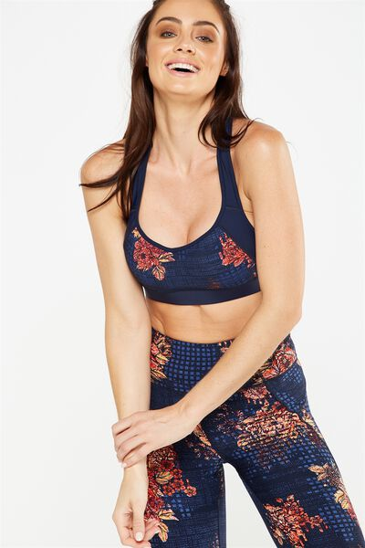 High Impact Sports Bra, GLITCHED FLORAL DARK INDIGO