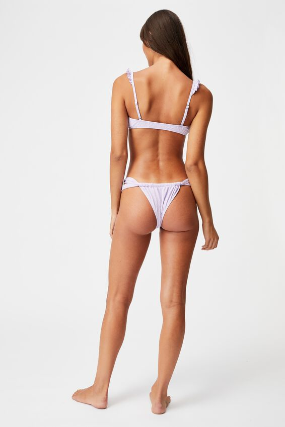 Gathered Strap Brazilian Bikini Bottom Jacquard, ORCHID MIST JACQUARD
