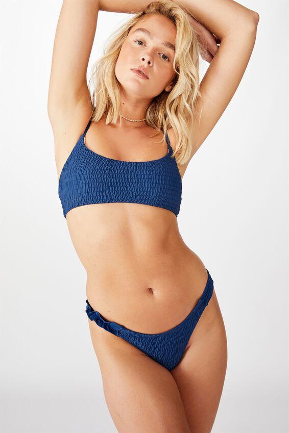 Tanga Cheeky Bikini Bottom, MARINA BLUE SHIRRED