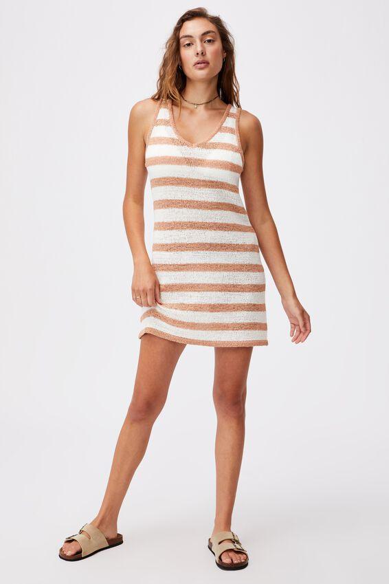Summer Lounge Slip Dress, CASHEW STRIPE