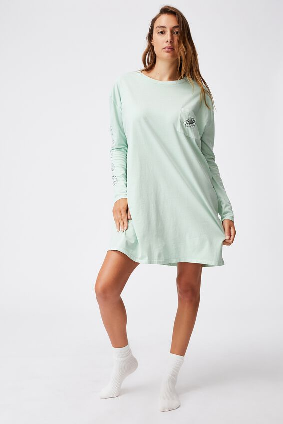 90S Long Sleeve Nightie, FLORAL CHILD/WASHED MINT CHIP