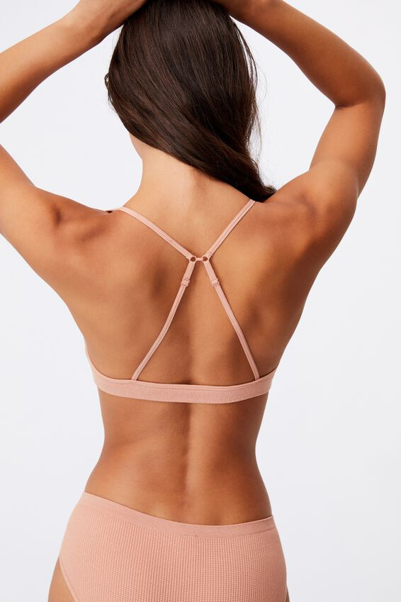 Seamfree Triangle Bralette With Cups, ROSE CLOUD SHIMMER