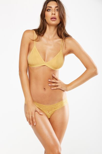 Lace Waistband Cheeky Bikini Brief, HONEY