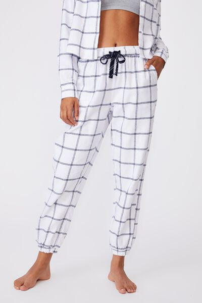 Flannel Sleep Pant, OVERSIZED CHECK WHITE
