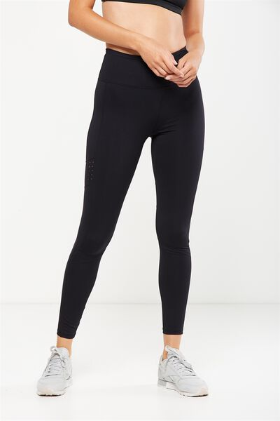 Tempo Mesh Panelled Tight, BLACK