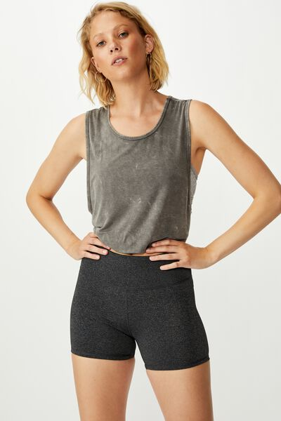 Highwaisted Shortie Short, CHARCOAL MARLE