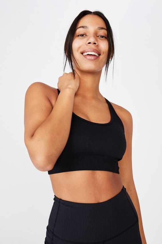 Lifestyle Rib Seamless Crop, BLACK