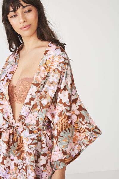Kimono Gown, MISTED BLOOM/HAZEL
