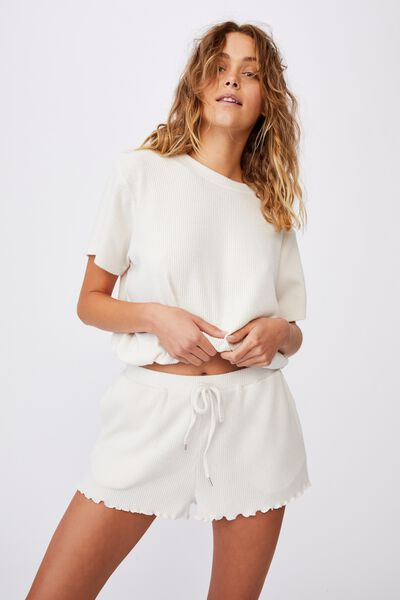 Super Soft Relaxed Short, OATMEAL MARLE RIB