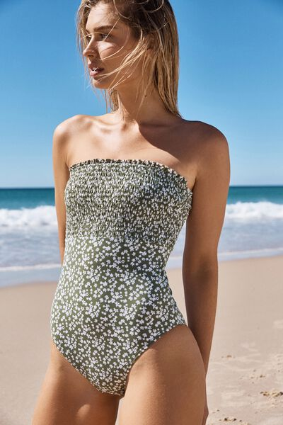 Shirred Strapless One Piece Cheeky, COOL AVOCADO DITSY SHIRRED