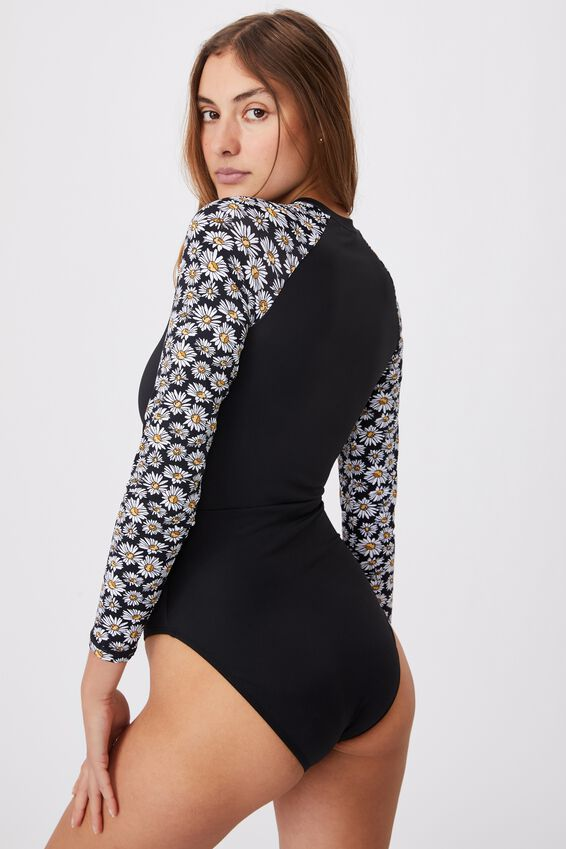 Zip Front Long Sleeve One Piece Full, BLACK/DAISY GARDEN