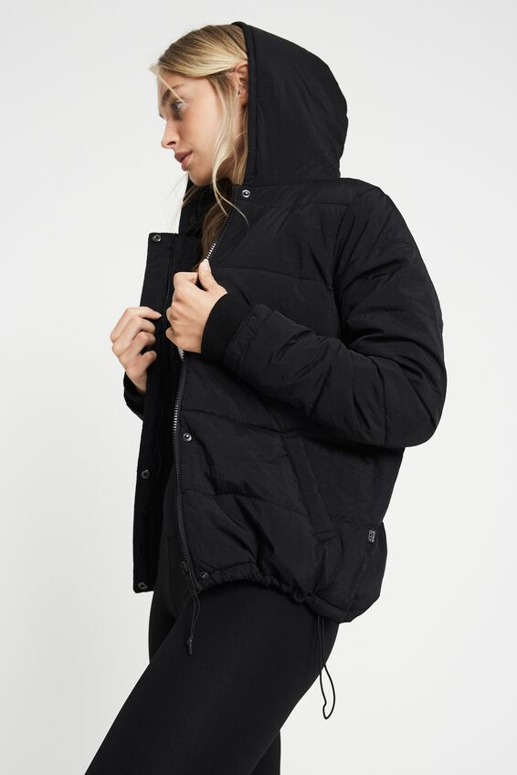 The Recycled Mother Packable Puffer, BLACK