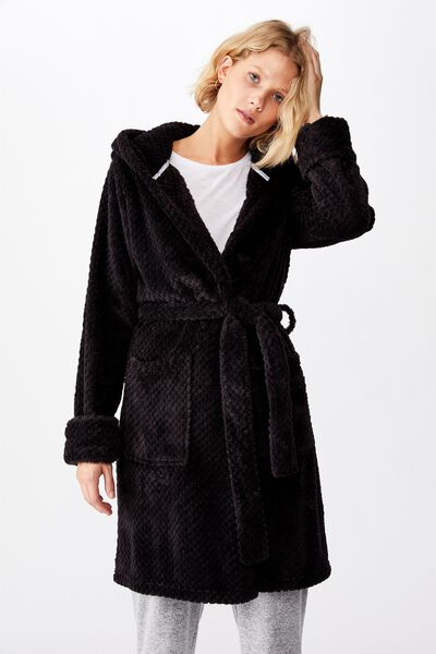 Hooded Luxe Plush Gown, BLACK TEXTURED