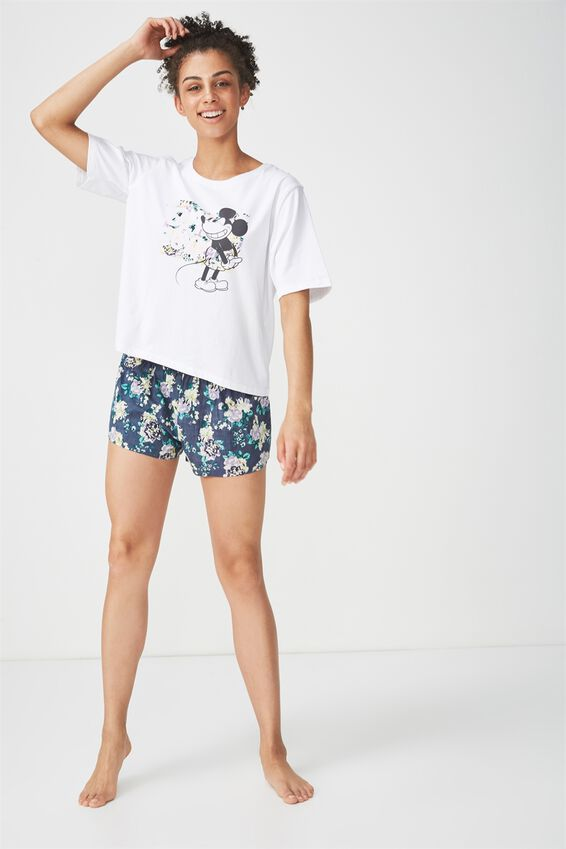 Boxy T Shirt, LCN DISNEY MICKEY OH BOY LOGO/WHITE