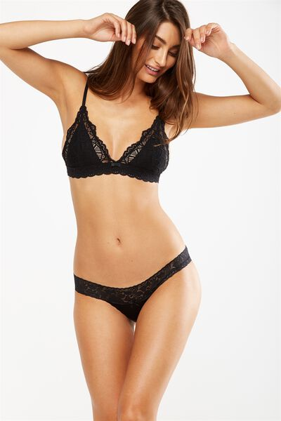 Lace Waistband Cheeky Bikini Brief, BLACK