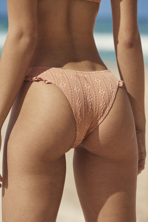 Refined High Side Brazilian Bikini Bottom, TERRACOTTA BROIDERIE