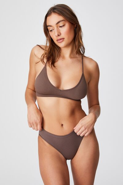 Seamfree Triangle Bralette With Cups, DEEP TAUPE