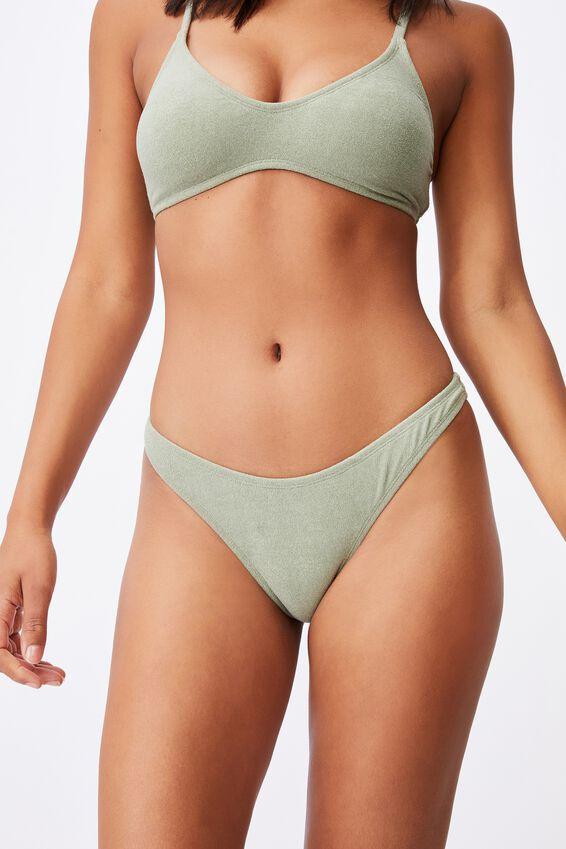 Refined High Side Brazilian Bikini Bottom Terry, KHAKI TERRY