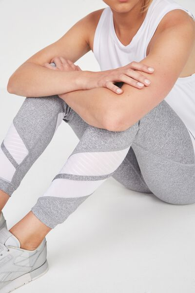 Double Mesh 7/8 Tight, MID GREY MARLE / WHITE