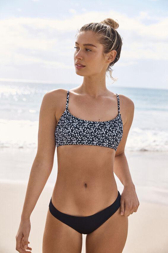 Scoop Crop Bralette Bikini Top, BLACK DITSY SHIRRED