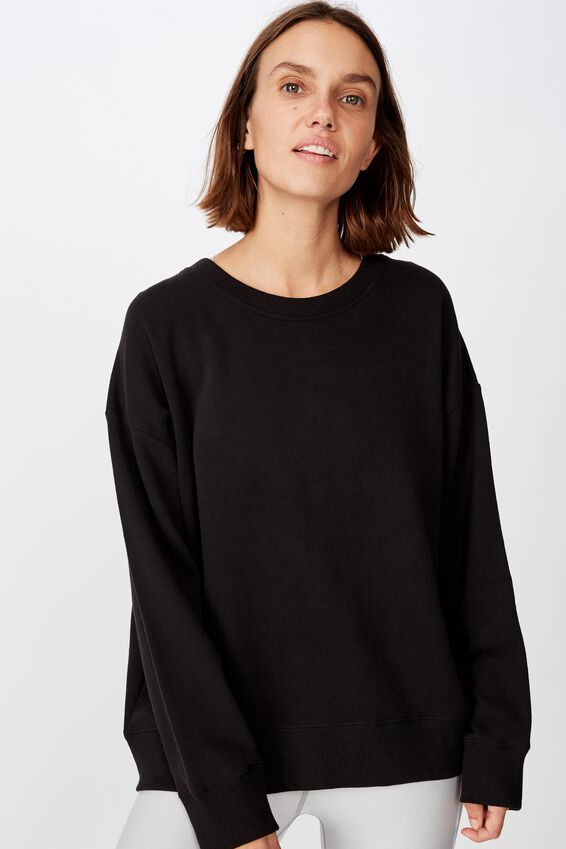 Long Sleeve Fleece Crew Top, WINTER BLACK