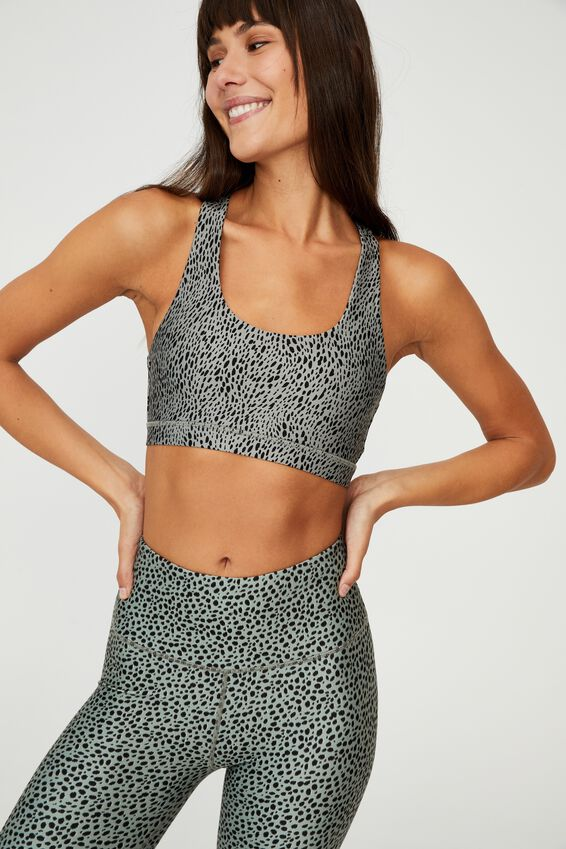 Workout Cut Out Crop, ANIMAL SPECK GREEN HAZE