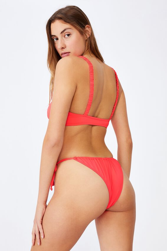Rouched Crop Bikini Top, HOT CORAL