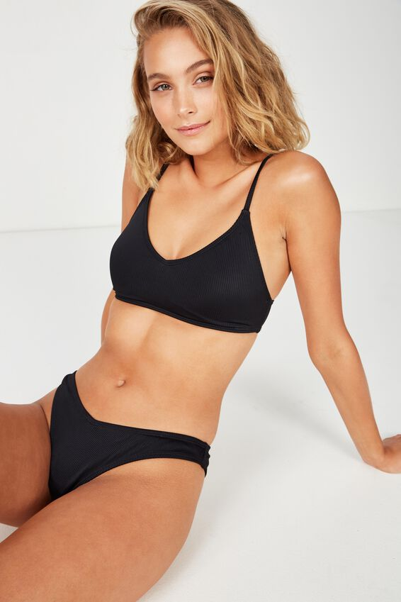 Sara Rib V High Side Cut Cheeky Bikini Bottom, BLACK