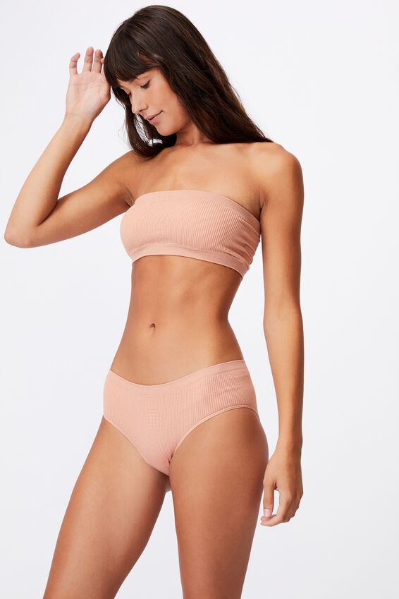 Seamfree Rib Bandeau With Cups, ROSE CLOUD SHIMMER
