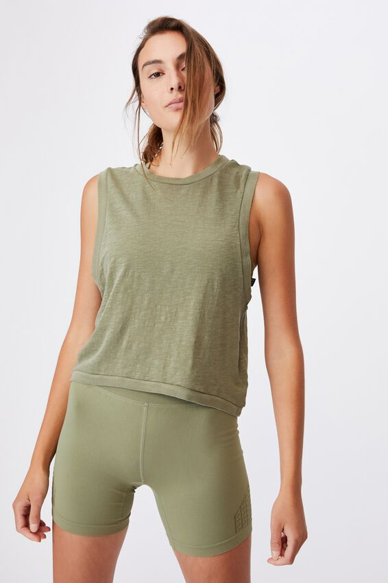 All Things Fabulous Cropped Muscle Tank, OREGANO WASH