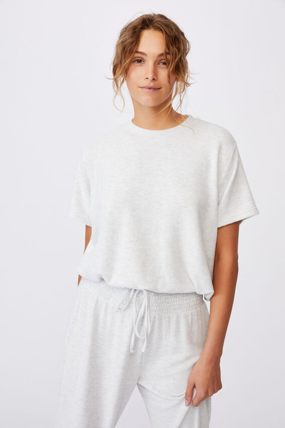 Super Soft Draw Cord T-Shirt, SOFT GREY MARLE
