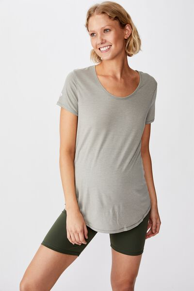 Maternity Gym T Shirt, STEELY SHADOW